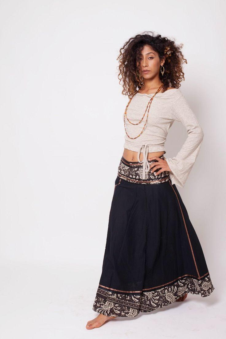 Bohemian Skirt , Boho Skirt , Bohemian Clothing , Black Gypsy Skirt , Long Skirt , One Size   Trendy Look Shop