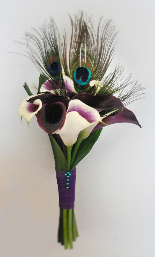 Wedding Bouquet Ivory And Dark Purple Calla Lilies With Peacock Feathers Bridesmaid Bouquet
