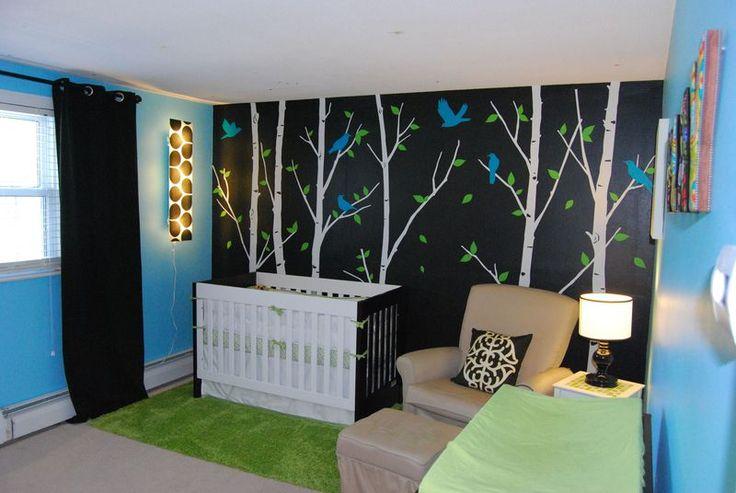 Baby rooms: Decor Ideas, Boys Nurseries, Colors Palettes, Woodsy Nurseries, Baby Rooms, Nurseries Ideas, Black Wall, Baby Stuff, Kids Rooms