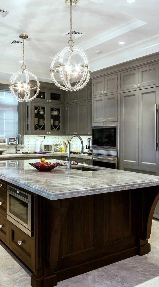 Love The Two Tone Look With The Gray Painted Cabinets On