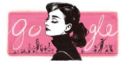 85º aniversario del nacimiento de Audrey Hepburn, Hoy Domingo 4 de mayo de 2014. Celebrado por google.