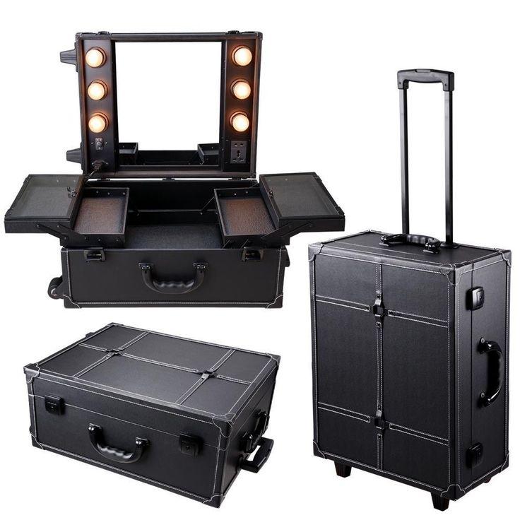 Pro Rolling Studio Makeup Artist Cosmetic Case w/ Light Mirror Black Train Table…