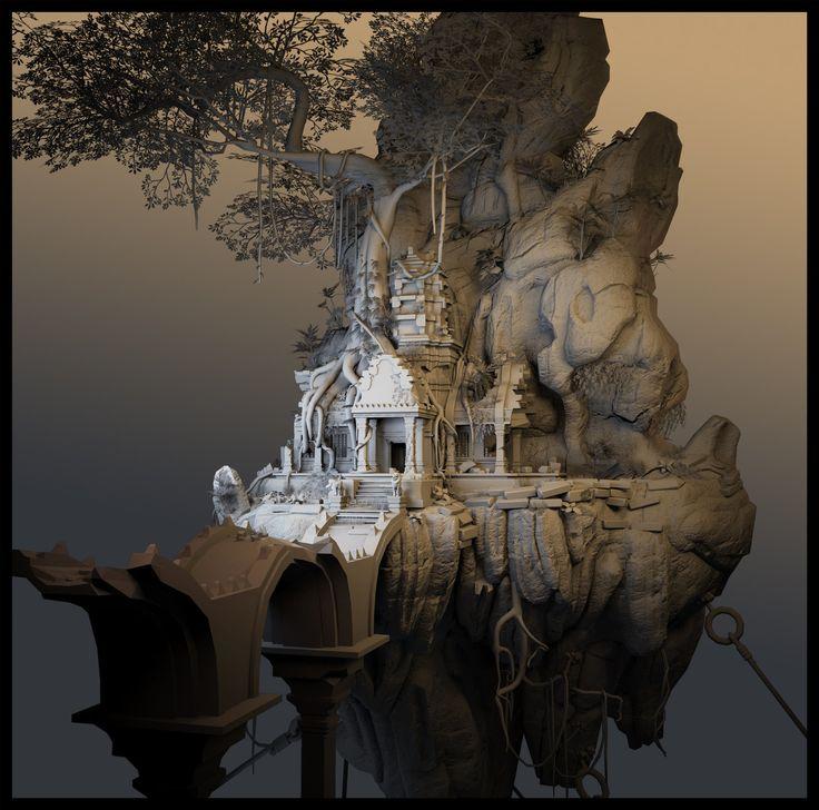 Floating Temple, Eric Kozlowsky on ArtStation at https://www.artstation.com/artwork/floating-temple