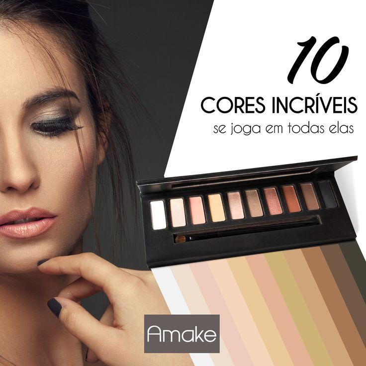 Paleta de sombra Nude Vip Amake: Monte vários looks com a nossa nova paleta e arrase aonde estiver! Paleta de sombra composta por 10 cores incríveis.