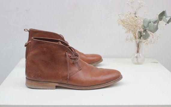 Derbys  pelle chiara stivali uomo cammello cognac di hiverserarude