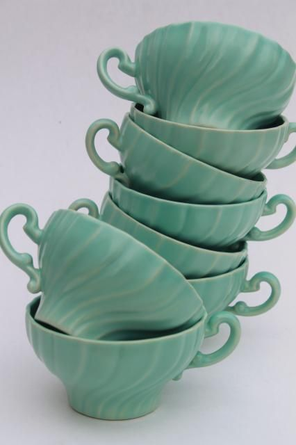 aqua turquoise blue matte glaze ceramic tea cups, vintage Franciscan pottery