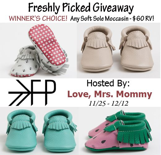 Freshly Picked Moccasin Giveaway – Winner's Choice! $60 RV! One lucky person is going to win ANY pair of soft sole moccasins from Freshly Picked they want! Any color (or print) and size! RV $60! Good luck! Sponsored By: Freshly Picked Hosted By: Love, Mrs. Mommy Co-Hosted By: My Silly Little Gang Amy & Aron's Real Life …