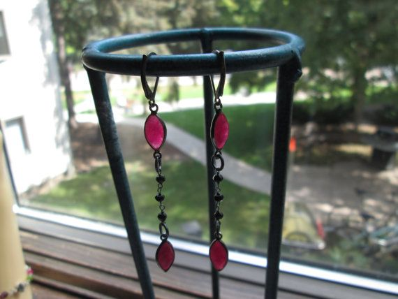 Handcrafted Victorian Sterling Silver Genuine 4.00ctw Rose Cut Ruby w/Genuine Black Spinel Beads Dangle/Drop Earrings Wt. 2.6 Grams