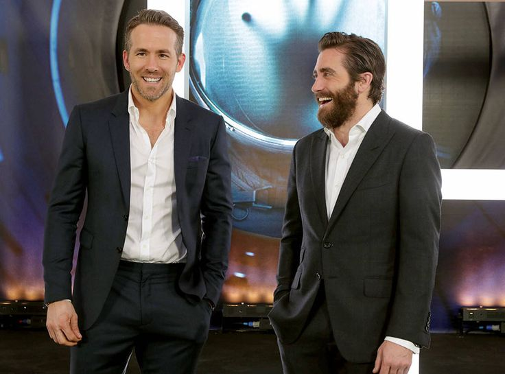 Ryan Reynolds & Jake Gyllenhaal from The Big Picture: Today's Hot Photos  Dynamic Duo! The actors share a laugh during the World Premiere of Life at SXSW in Austin.