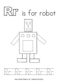 r is for robot coloring page - photo #16