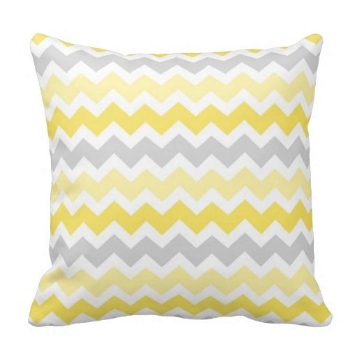Lemon Gray Chevron Decorative Pillow