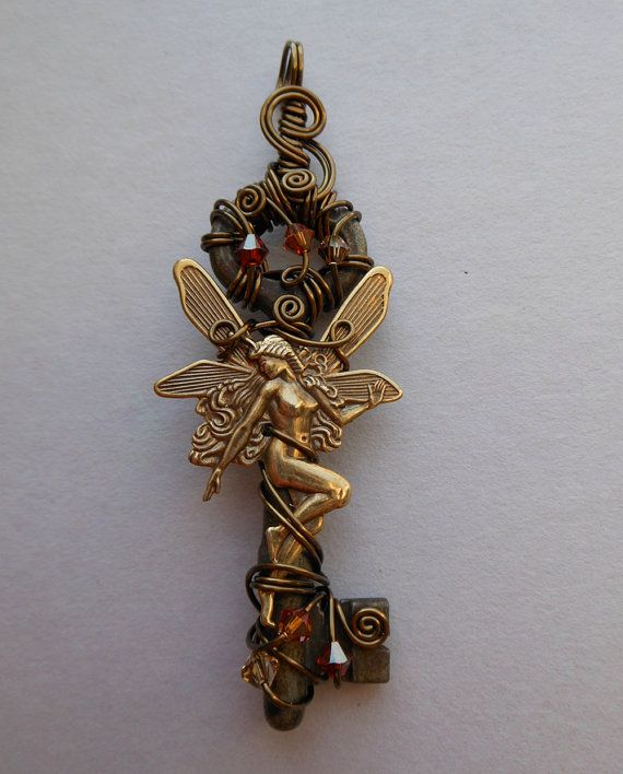 Autumn+Fairy+Key+Pendant++Wire+Wrapped+Key+by+silverowlcreations,+$48.00