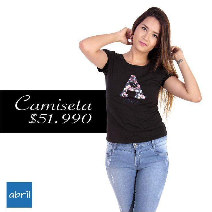 Para esta temporada las camisetas con estampados de letras o números son tendencia y tu ya tienes la tu ya. Vive tu estilo #viveABRIL www.tiendasabril.com
