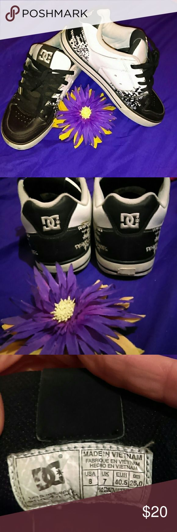 DC skate shoes Black and white DC skate shoes. Loved but still have plenty of life left! DC Shoes Sneakers