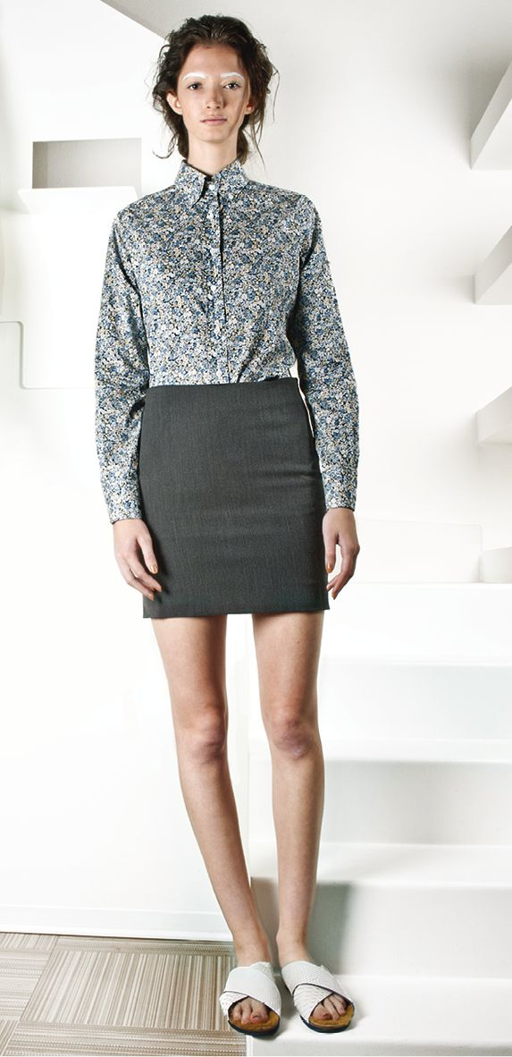 liberty print shirt + stretch skirt