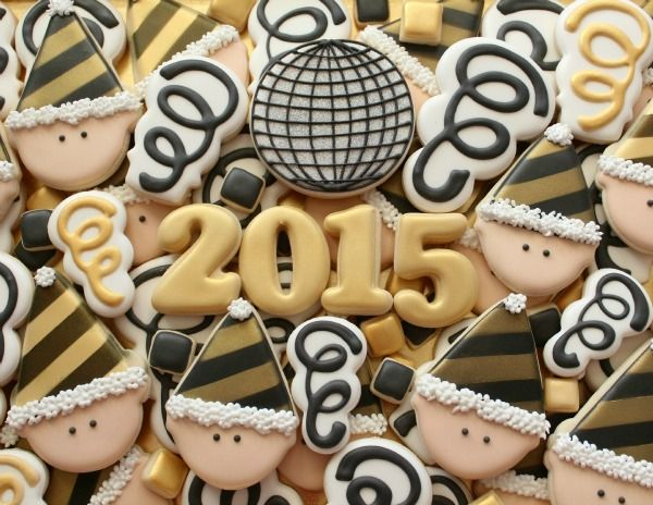 Happy New Year Cookies And tips for making black royal icing