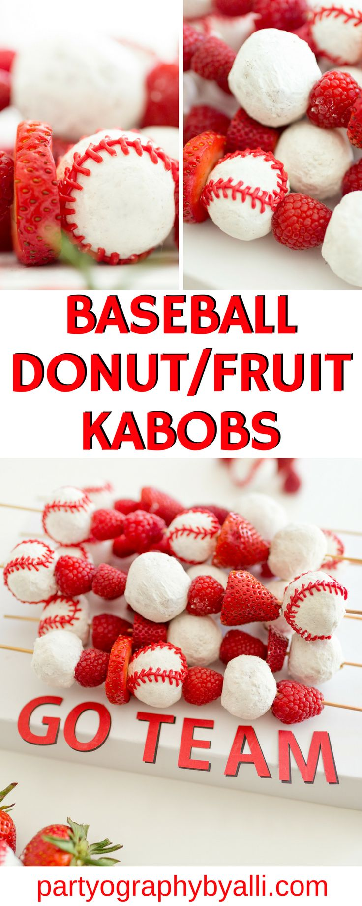 Baseball Donut & Fruit Kabobs, Baseball Party Food, Team Snack Ideas, Baseball birthday party ideas #baseballteamsnack #baseballparty