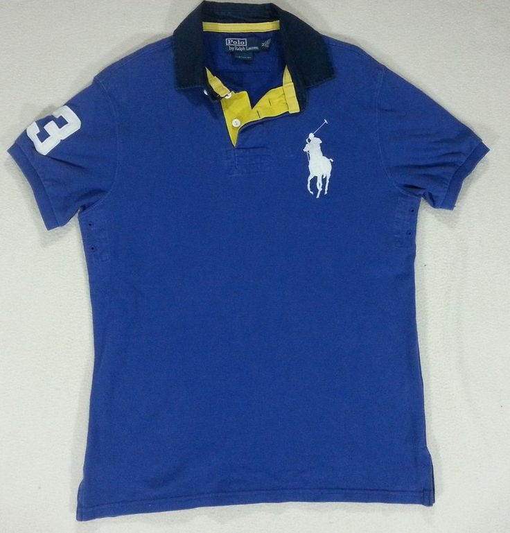 Polo Men Ralph Lauren Blue White Stickup Custom-Fit Mesh