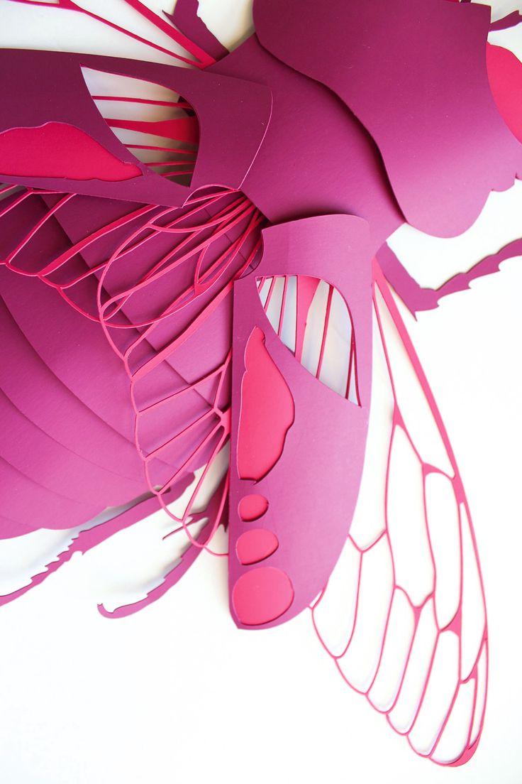 Masque en papier découpé - concours Arjowiggins - Scarabée rose fushia - montage papier - lucane cerf-volant - DIY