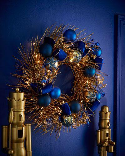 "H8CNH Sapphire & Gold Pre-Lit 28"" Christmas Wreath"