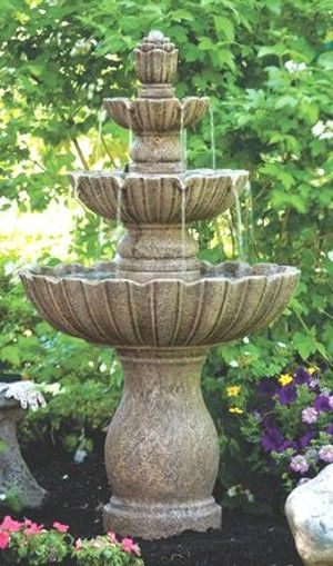 Mirabella Scallop Garden Fountain Three Tiered That Has Ample Water Flow  For A Symphony Of Water Music.