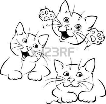 Katze spielen - schwarzer Umriss Illustration auf weiß