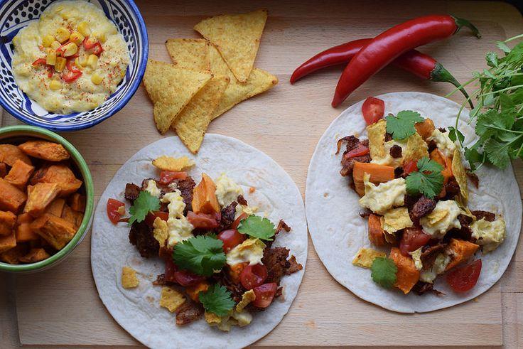 Pulled oumph tacos med veganskt creamed corn