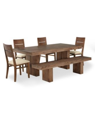 Champagne Dining Room Furniture, 6 Piece Set (Dining Table, 4 Side Chairs and 1 Bench) | macys.com