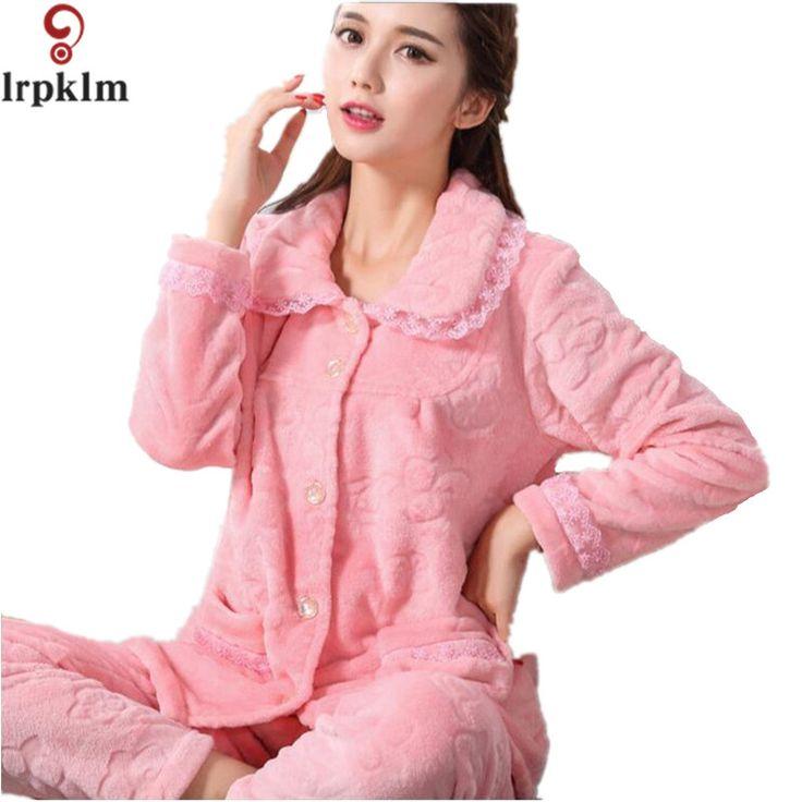 2017 Flannel Fleece Winter Women Pajama Sets Pajamas Pijama Pyjama Women Feminino Pijama Mujer Pijamas Entero Pyjamas SY233 #Affiliate