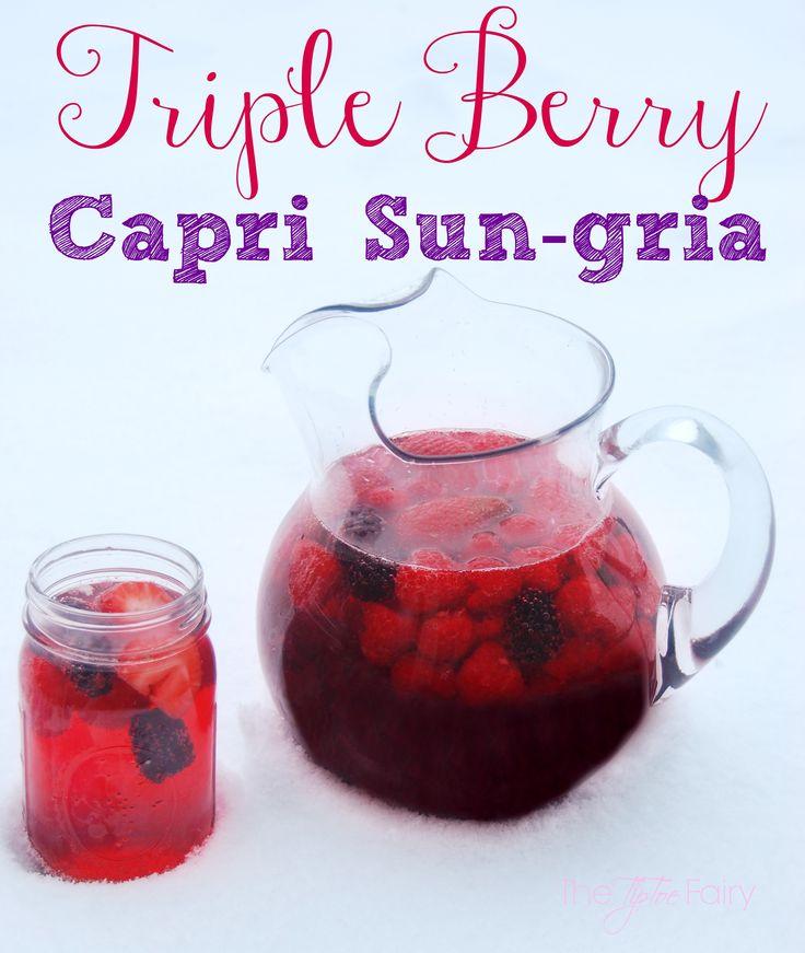 Triple Berry Capri Sun-gria - A delicious sangria recipe full of berries   The TipToe Fairy