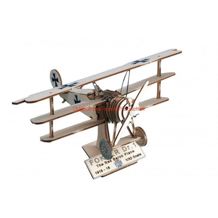 Maquette en bois avion : Art&Wood: Fokker DR Baron rouge - Artesania Latina 30220