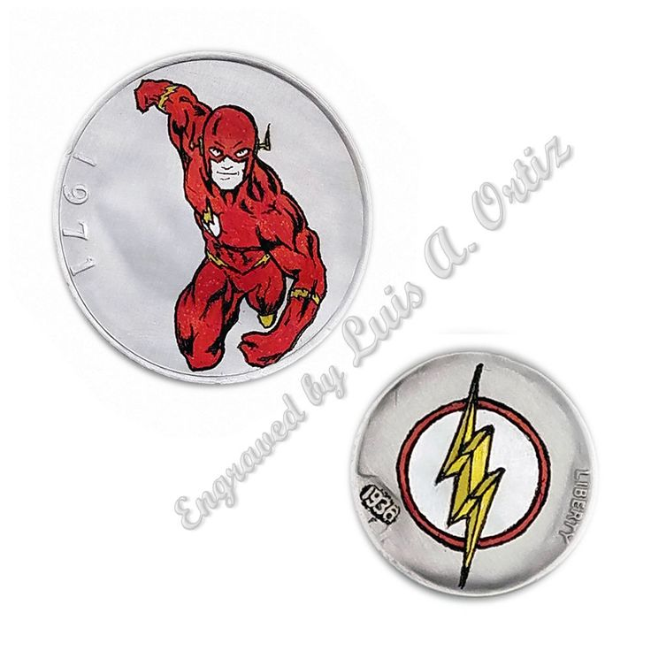 Flash Comics 2 Pk  Ike & Buffalo Hobo Nickel Engraved & Colored by Luis A Ortiz
