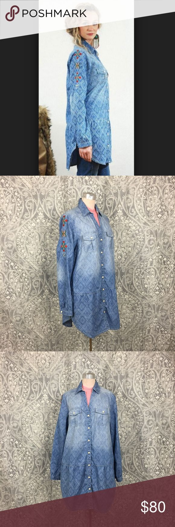 Tasha Polizzi Little Bronco Denim Tunic Dress New without tags Tasha Polizzi wester chambray tunic dress, featuring beautiful wester print on the blue denim base and colorful embroidery down the sleeves. No signs of damage or wear. Perfect for wearing with leggings and your favorite pair of boots.   Laying Flat Measurements are:  Chest- 21 in Waist- 19.5 in Hips- 23 in Overall Length- 34 in Tasha Polizzi Tops Tunics
