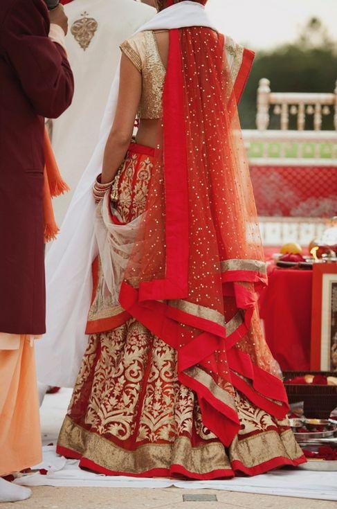 red & gold lehenga love