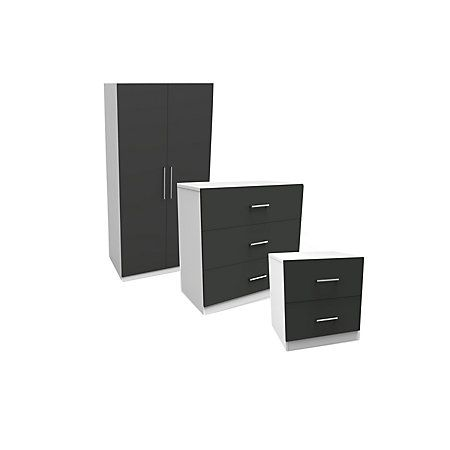 Darwin White & Anthracite Wardrobe, Chest & Bedside Cabinet Set | Departments | DIY at B&Q