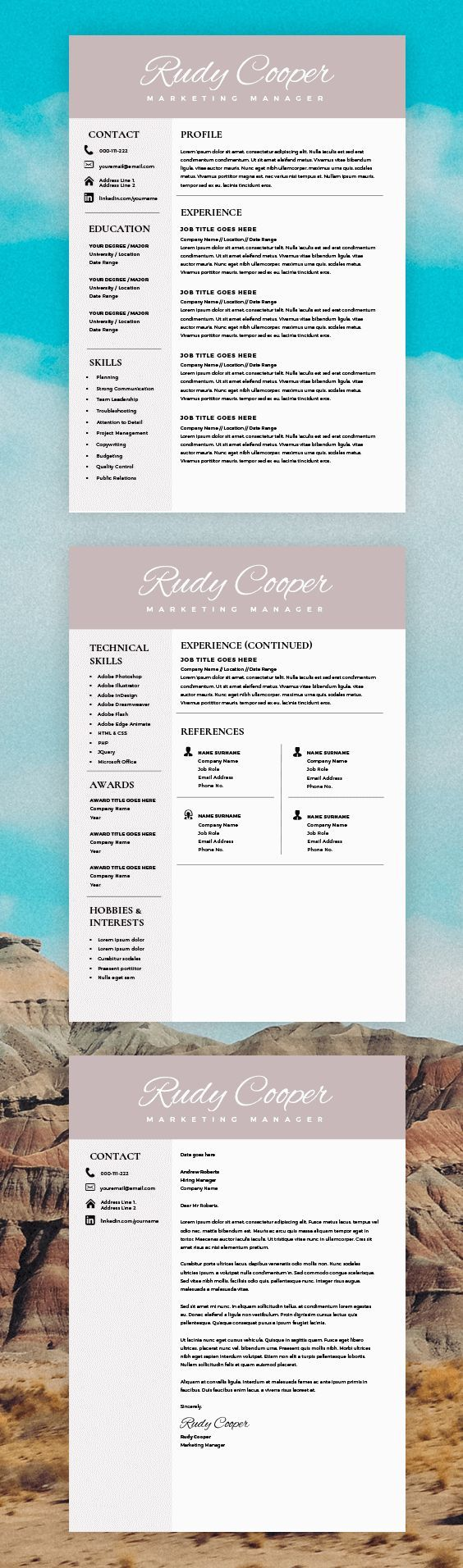 graduate resume template%0A Professional Resume Template Instant Download        Page Resume Template  for MS Word