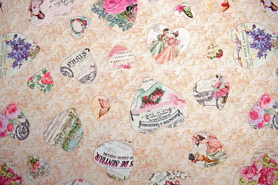 Valentines day fabric, heart fabric, quilting fabric, cotton fabric, fabric by the metre, victorian fabric, love fabric, music fabric
