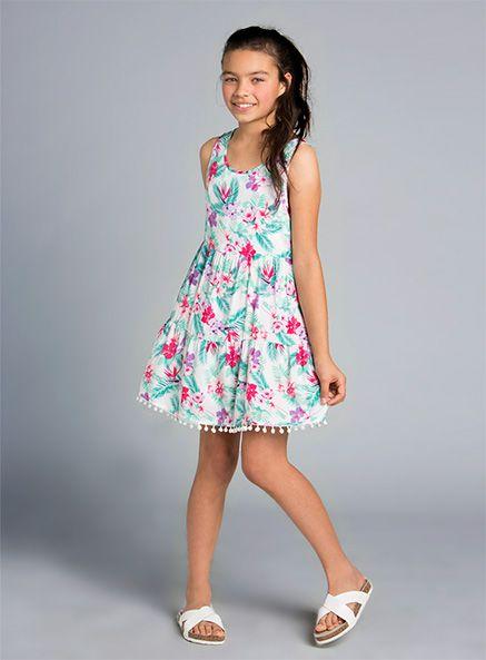 Pumpkin Patch - dresses - floral tiered dress - S4UA80021 - milk - 3xs-8yr to m-16yr