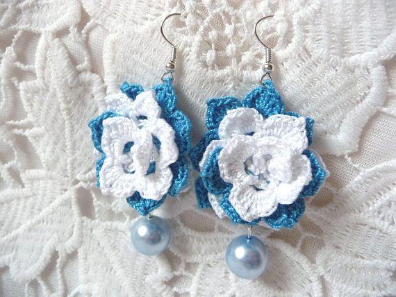 Crochet earrings crochet jewelry wedding earrings white