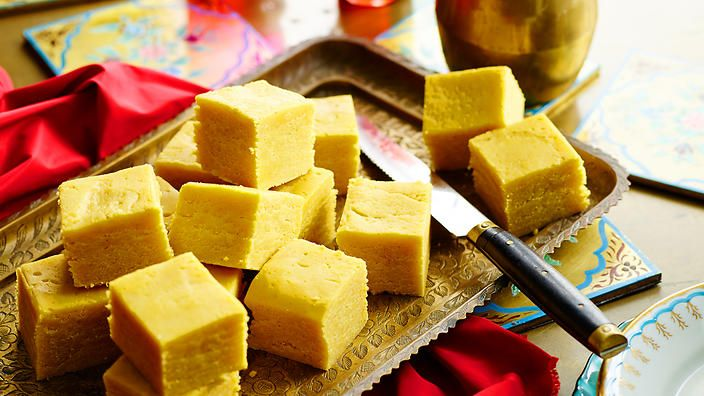 Chickpea flour, also known as besan flour, is a staple ingredient in Indian cooking. Here it's mixed with ghee and condensed milk to make a gorgeous fudge.
