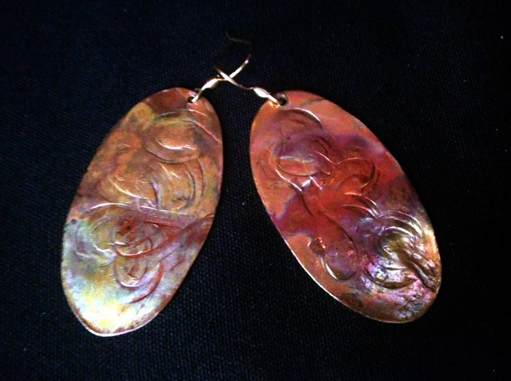 Copper oval earrings with fire patina by ixchelco on Etsy
