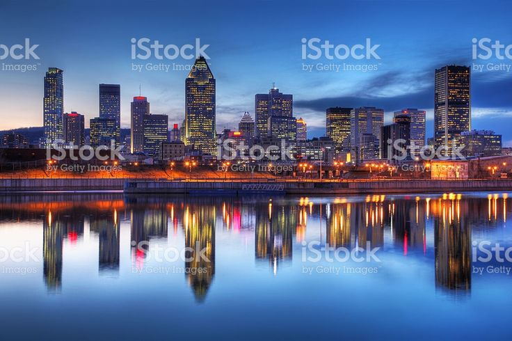 Montreal Cityscape Reflection at Sunset royalty-free stock photo