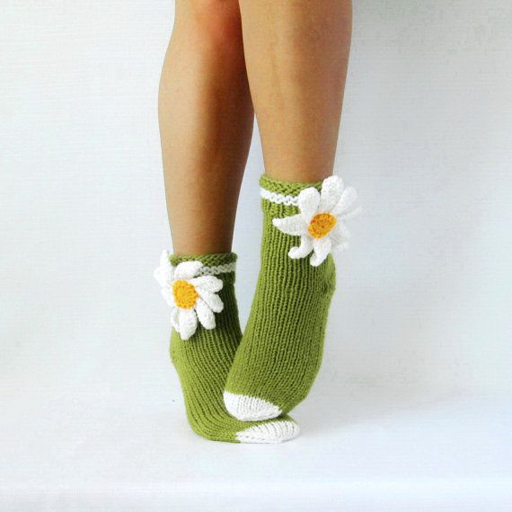 Hand knit Socks. Camomile socks.  Womens wool socks. Gift Ideas Ready to Ship. Valentines day or Birthday Present  (any size made to order)  Winter