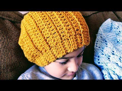 999d2ae0fde4e Gorro a crochet para niños y adultos en punto diagonal a crochet - YouTube