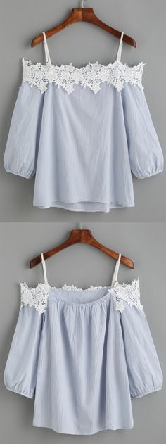 The white appliques will show your amazing collarbone. #LightBlue #ColdShoulder…