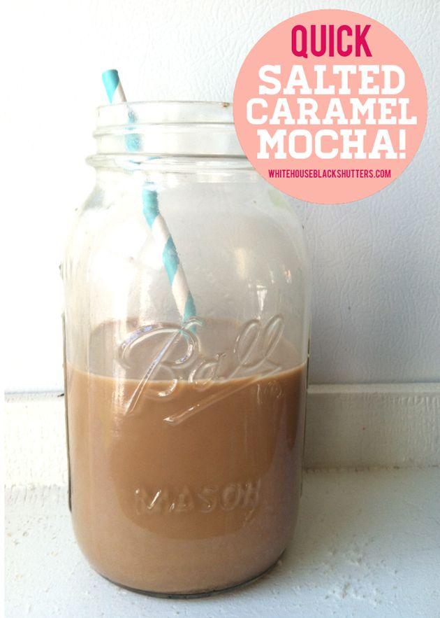Quick Salted Caramel Mocha - take 2 minutes to make at home!