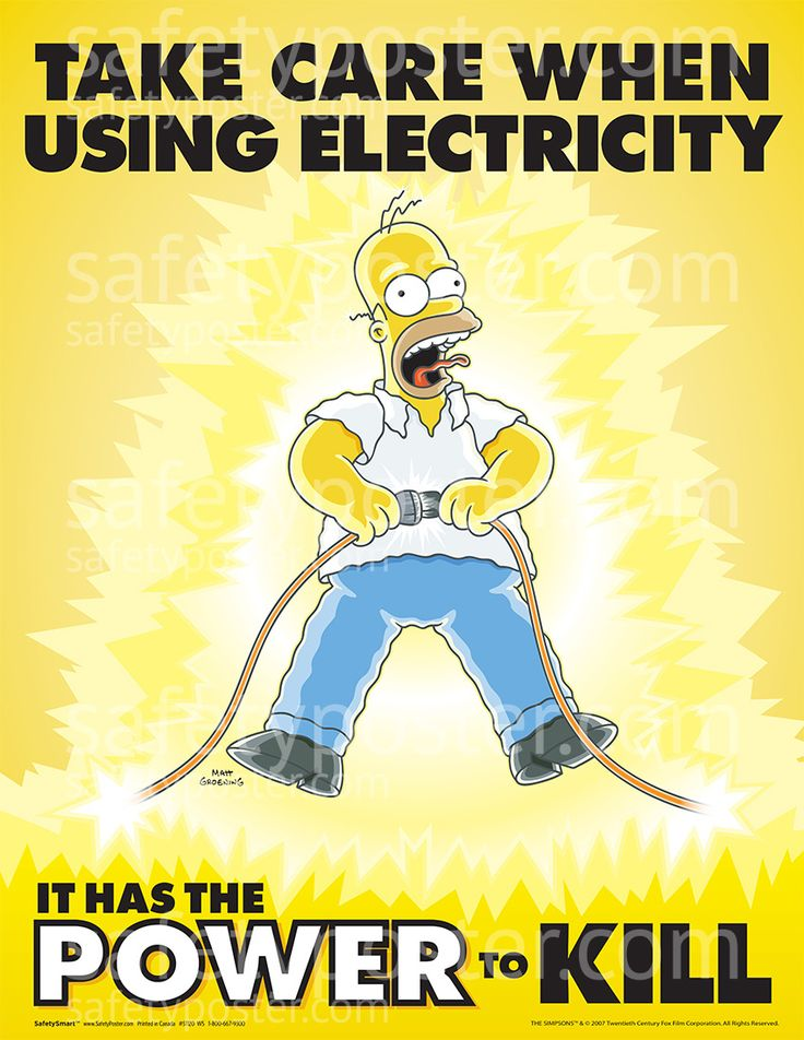 www.SafetyPoster.com - Electrical Safety Posters - Simpsons S1120, $24.99 (http://www.safetyposter.com/electrical-safety-poster-s1120/)