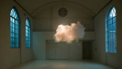 artist suspends real clouds in the middle of the room    that's not photoshop; that's an actual cloud hovering inside an actual room.  artist berndnaut smilde merges art and science to create small man-made clouds that exist — albeit for just a moment — indoors.