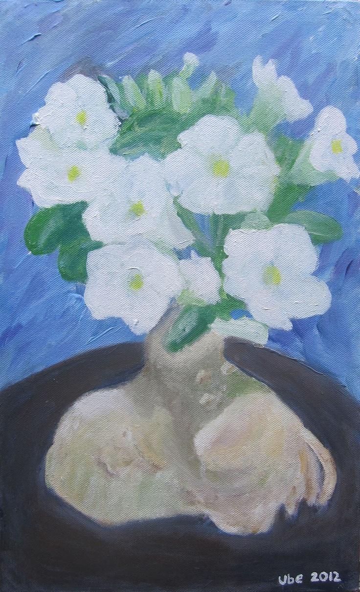 bunga adenium untuk ulang tahun ibu. 23 x 39,2 cm acrylic on canvas. 2012. (ube)