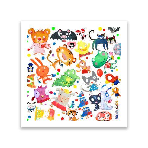 animals kids pattern Print by luciasalemi at zippi.co.uk